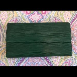 Louis Vuitton green epi long wallet with the works